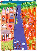Traditional village life on river, illustration