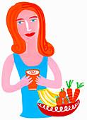 Woman drinking healthy juice, illustration