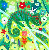 Chameleon camouflaged in foliage, illustration