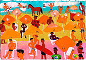Young people on beach in Rio De Janeiro, illustration