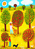 Family picking apples in orchard, illustration