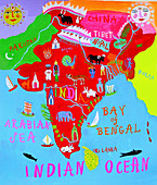 Map of India with Indian culture and wildlife, illustration