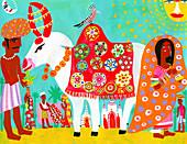Man feeding ornate sacred cow, India, illustration