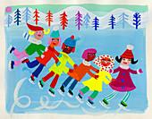 Children ice skating on frozen lake, illustration