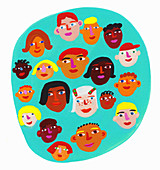 Circle containing lots of children's faces, illustration