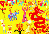 People celebrating different traditions, illustration
