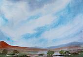 Hills and lake against blue sky, illustration