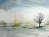 Bare tree in snowy field in winter, illustration
