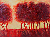 Back lit red trees, illustration