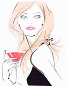 Beautiful woman drinking cocktail, illustration