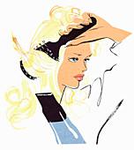 Woman brushing and drying hair, illustration