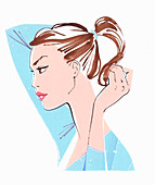 Woman putting hair in ponytail, illustration