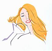 Woman drying hair using diffuser, illustration