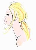Close up profile of beautiful woman, illustration