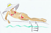 Woman on sun lounger beside swimming pool, illustration