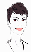 Smiling confident woman with short dark hair, illustration