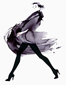 Fashion model striding in flowing coat, illustration