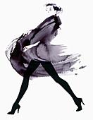 Fashion model striding in flowing coat, illustration