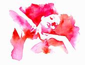 Graceful woman stretching, illustration