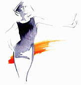 Woman standing with arm outstretched, illustration