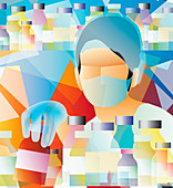 Doctor wearing surgical mask, illustration