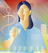 Nurse organizing medicine by dose, illustration