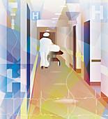 Nurse pushing hospital trolley bed up corridor, illustration