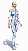 Woman android with human face and metal body, illustration