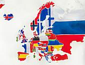 Flag map of Europe, illustration