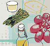 Asparagus, tomatoes, cheese and olive oil, illustration