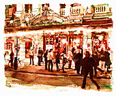Busy street with people outside of theatre, illustration