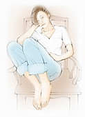 Sad teenager curled up in chair, illustration