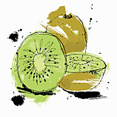 Whole and cut kiwi fruit, illustration