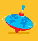 Globe spinning top, illustration
