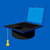 Distance learning university education, illustration