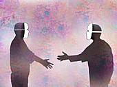 Men in face masks shaking hands, illustration