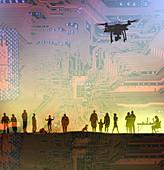 Surveillance drones, illustration