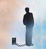 Man chained to his smart phone, illustration