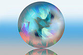 Abstract pattern inside sphere, illustration
