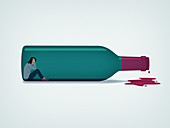 Woman trapped inside of wine bottle, illustration