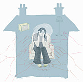 Depressed teenager, illustration