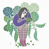 Young woman picking peas, illustration