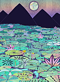 Water lilies covering mountain lake, illustration