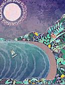 Sun shining on floral pattern cove, illustration