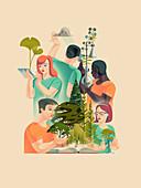 Botany, conceptual illustration