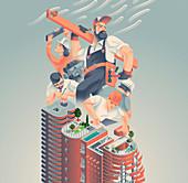 Construction industry, illustration