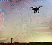 Man flying drone in circuit board sky, illustration