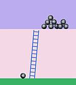 Single ball at bottom of ladder, illustration