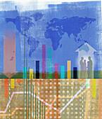 Global business montage, illustration