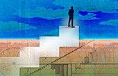 Businessman standing on top of stairs, illustration